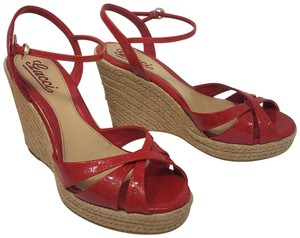 9b3d79c07 Gucci Gg Peep Toe Platform Guccissima Gold Hardware Red