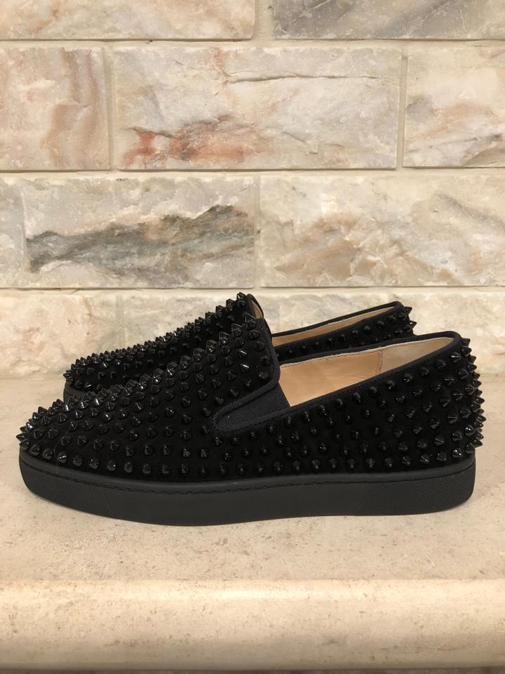 d00cff4d082 Christian Louboutin Black Roller Boat Flat Suede Spike Low Top Sneakers  Size EU 39 (Approx. US 9) Regular (M, B) 19% off retail