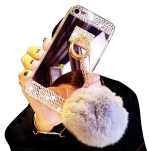 Other Real Fur Rex Rabbit Balls + Colorful Bling Diamond Rhinestone For Iphone