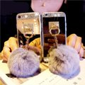 Other Real Fur Rex Rabbit Balls + Colorful Bling Diamond Rhinestone For Iphone Image 1
