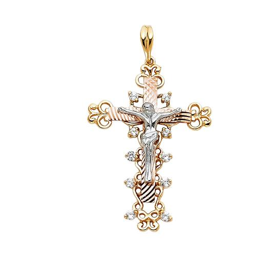 Preload https://img-static.tradesy.com/item/23139950/tri-color-14k-yellow-white-rose-religious-crucifix-pendant-charm-0-0-540-540.jpg