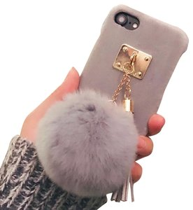 7e2519cebe8c Other Luxury Winter Soft Wram Rabbit Fur Ball Tassel Case Metal Tassels  Furry Hair Phone Back