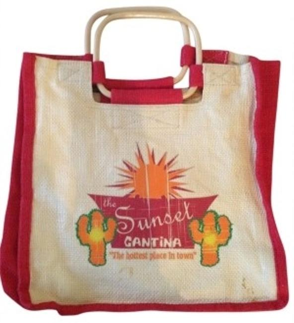 Item - Small Red and Beige Tag States Man Made Tote