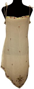 BCBGMAXAZRIA Asymmetrical 100% Silk with embroidery flowers Trim Cover-Up Sarong