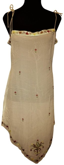 Item - White Asymmetrical Silk with Embroidery Flowers Cover-up/Sarong Size 14 (L)