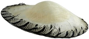 Suzanne Couture Millenary Sinamay Feather-Rim Saucer Cocktail Hat