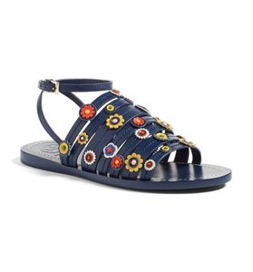Tory Burch Blue Flat Leather Floral Navy Sandals
