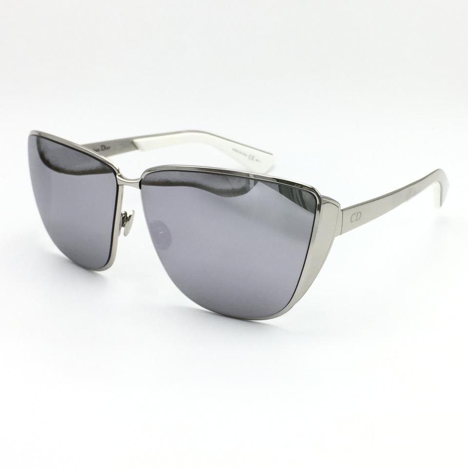 58635442636 Dior Silver White Futurist Limited Edition Square Cat Eye Mirror 010dc  Sunglasses - Tradesy