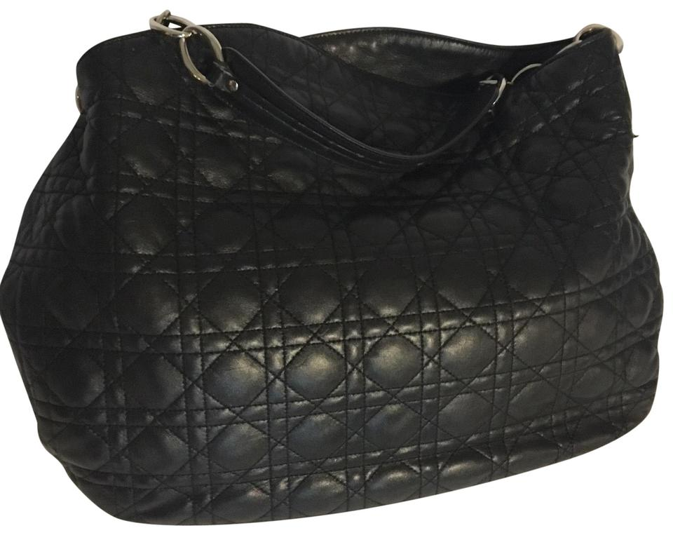 b055835accdb Dior Lady Dior Christian Cannage Quilted Black Leather Hobo Bag ...