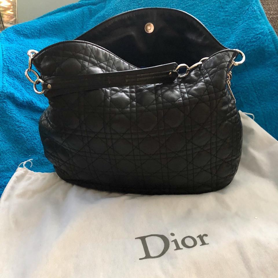 1a3872f0a536 Dior Lady Dior Christian Cannage Quilted Black Leather Hobo Bag - Tradesy