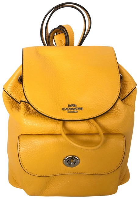 Item - Billie Mini In Pebble F37621) Silver/Canary 2 Leather Backpack