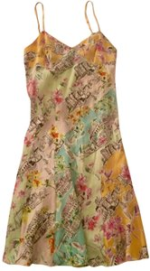 NAF NAF French City Buildings Print Silk A-line Dress