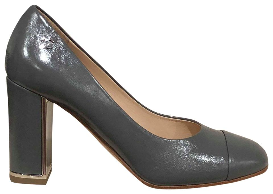 fab6501af84 Chanel Grey 17b Calfskin Leather Mule Cc Cap Toe Block Heel Classic Pumps