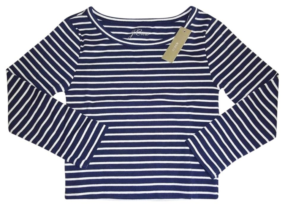 0dd9f5b3741600 J.Crew Crew Neck 3/4 Sleeves Allover Stripes Banded Trim Comfy Cotton Top  ...
