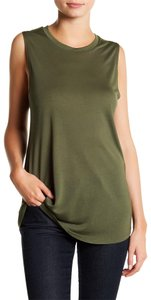Haute Hippie Cropped Cargo Safari Jersey Modal Top Military Olive Green