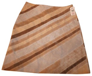 Margaret Godfrey Leather Lined Pencil Straight Pieced Skirt Beige, Brown, Taupe