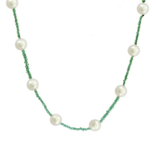Avital & Co Jewelry 10mm Pearl & Natural Emerald Necklace Image 1