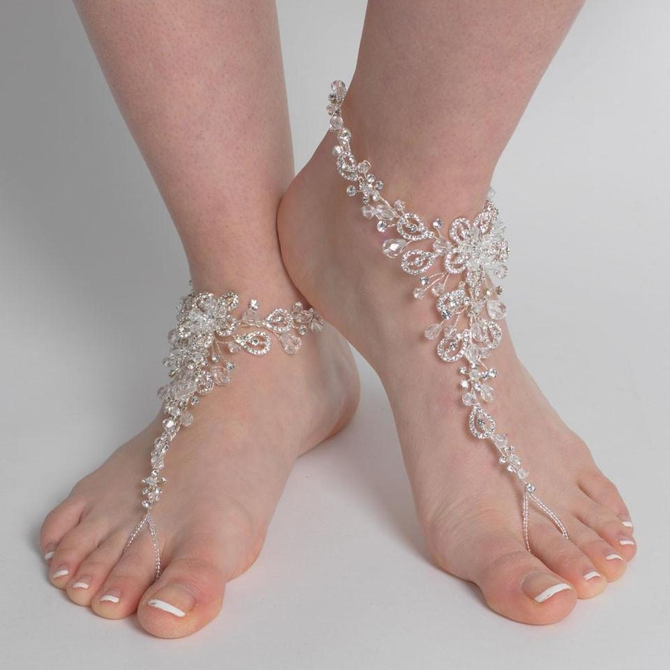 8126a41c0 Elegance by Carbonneau Silver Swarovski Beach Wedding Barefoot Sandals  Bridal Foot Jewelry