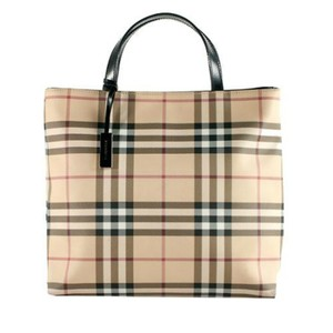 Burberry Tote in Tan Black Red