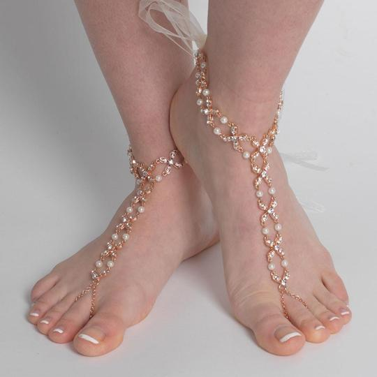 Elegance by Carbonneau Silver Gold Rose Gold Pearl and Rhinestone Beach Wedding Barefoot Bridal Foot Jewelry Image 1
