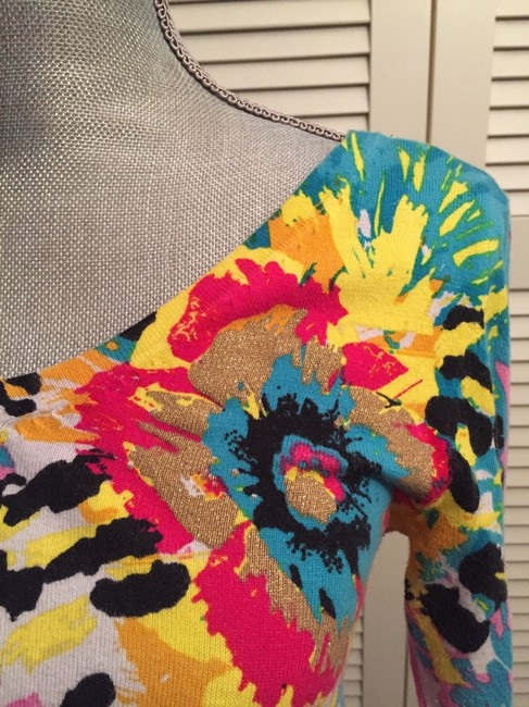 Colleen Lopez Green Yellow Fireworks Coral Tie Dye Sweater Image 2
