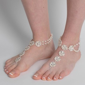 Elegance by Carbonneau Pick Gold Or Pick Silver Light Ivory Pearl & Rhinestone Bridal Foot Jewelry
