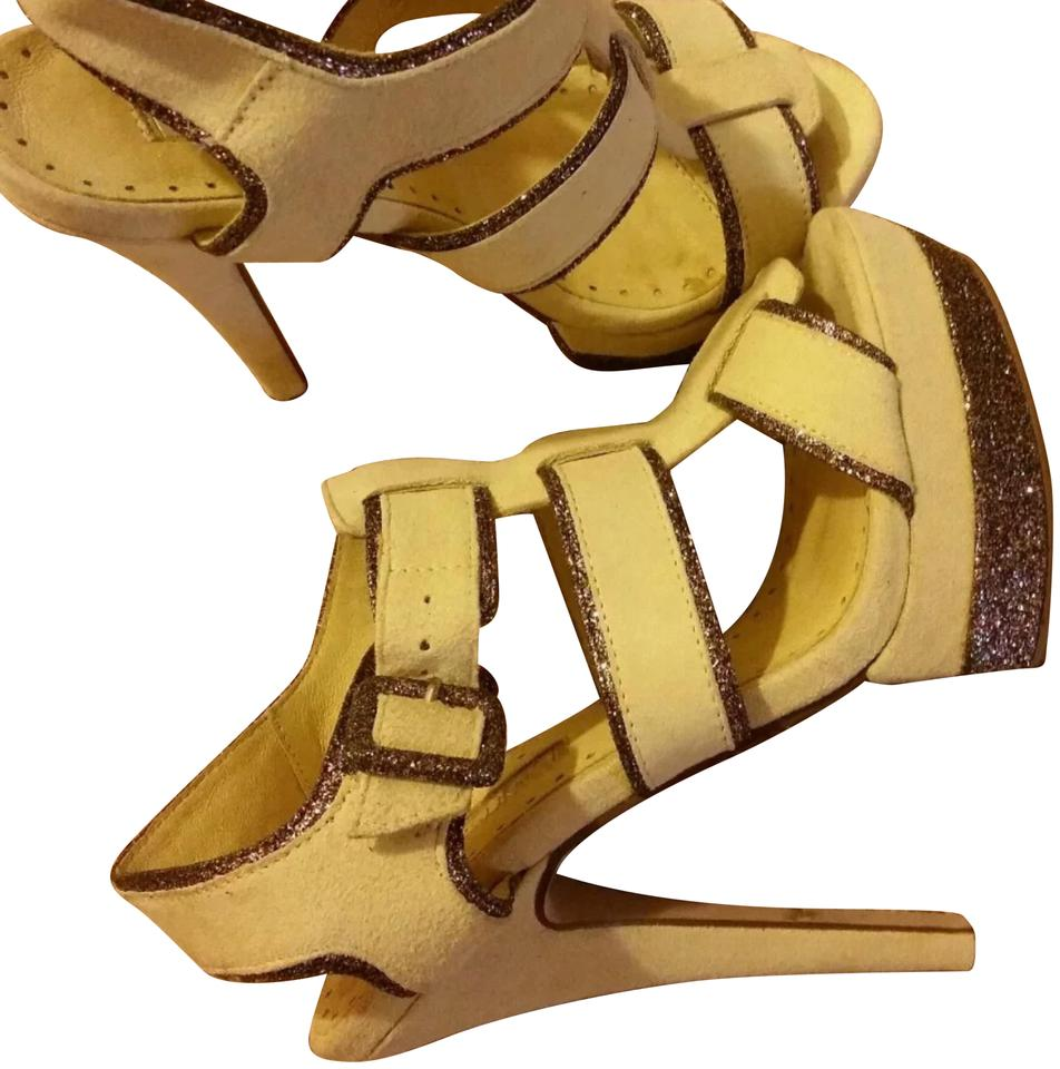 5609576e7a Topshop Yellow Leather Platform Wedge High Heel Sandals Size US 6 ...