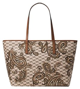 a95b5e345e16 Michael Kors Studio Paisley Emry Large Top Zip Tote in Heritage Luggage  Brown