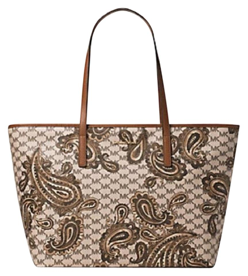 1476a8ffc31066 Michael Kors Studio Paisley Emry Large Top Zip Tote in Heritage Luggage  Brown Image 0 ...