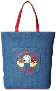 Love Moschino Logo Canvas Blue Tote in Denim