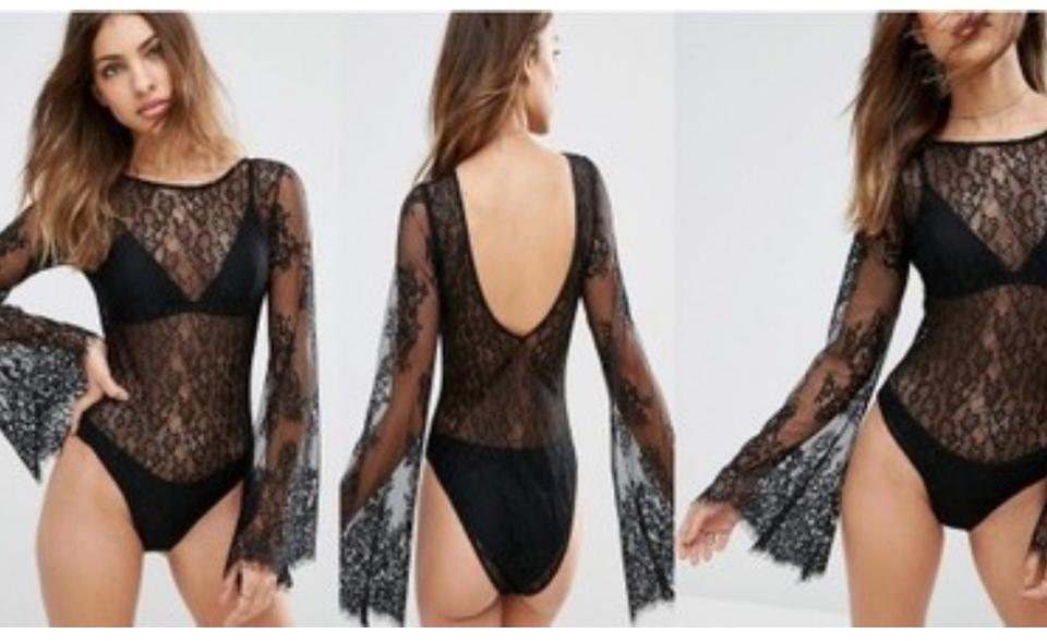 50cdad913f ASOS Lace Bodysuit Mesh Sexi Wide Sleeves Top Black Image 2. 123