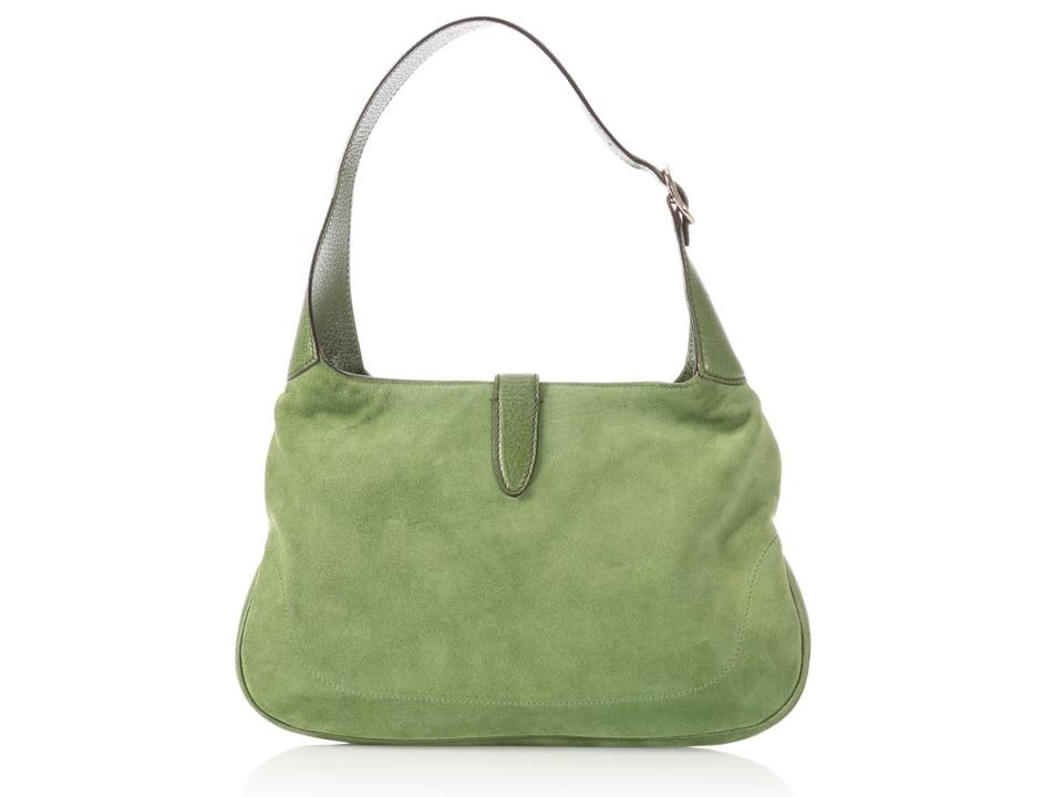 d0a860d03b4c Gucci Jackie Embroidered Green Suede Shoulder Bag - Tradesy