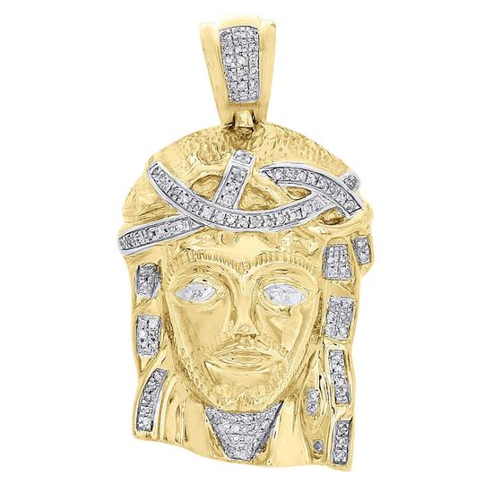 Preload https://img-static.tradesy.com/item/23142408/jewelry-for-less-yellow-gold-10k-diamond-textured-jesus-face-men-s-pendant-155-28-ct-charm-0-0-540-540.jpg