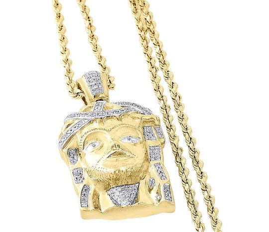 Jewelry For Less 10K Yellow Gold Diamond Textured Jesus Face Men's Pendant 1.55