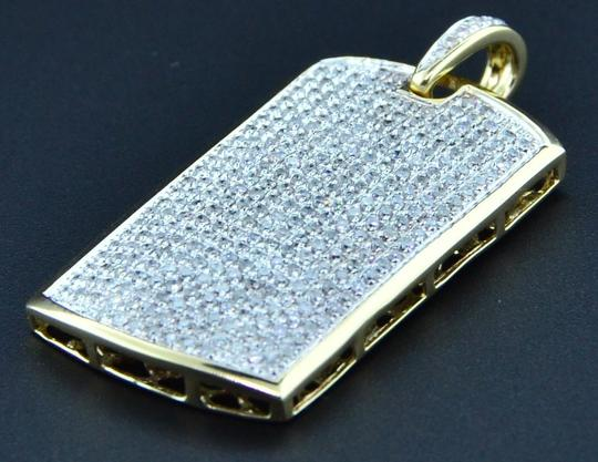 Jewelry For Less Diamond Mini Micro Dog Tag Pendant New Mens 10K Yellow Gold Charm 1 Ct