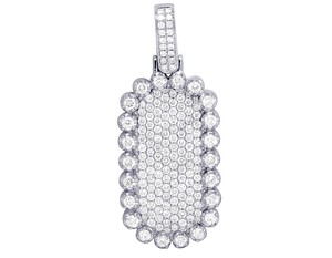 Jewelry Unlimited 14K White Gold Real Diamond Iced Dogtag Bar Pendant 4.33CT 2