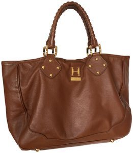 Halston Heritage Brown Leather Gold Hardware Timeless Tote in Dark Camel