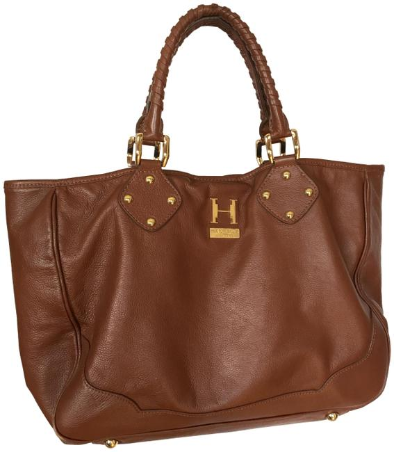 Item - Michelle Large Gold Hardware Dark Camel Leather Tote