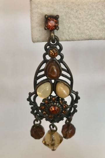 VINTAGE VINTAGE AMBER, TIGERS EYE, GLASS RHINESTONE CHANDELIER DROP EARRINGS