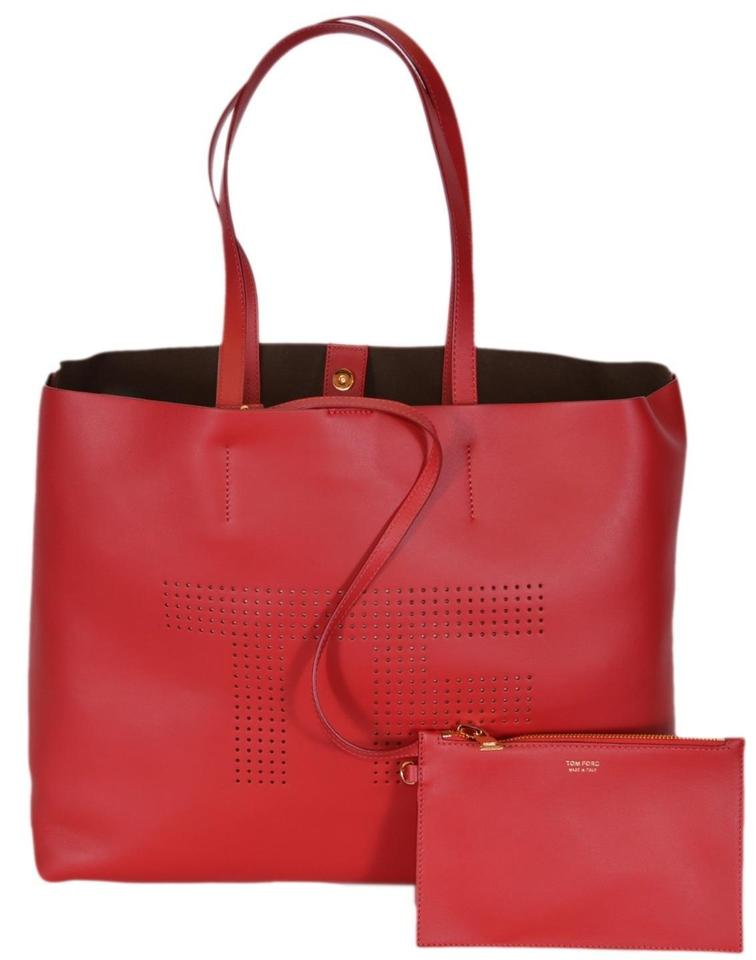 747654e8eba2 Tom Ford New Women s 590 Perforated Tf Logo Purse Red Leather Tote ...