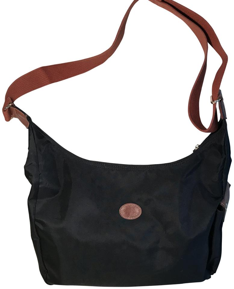 9a3cee0403e5 Longchamp  le Pliage  Convertible Hobo Black Nylon Cross Body Bag ...