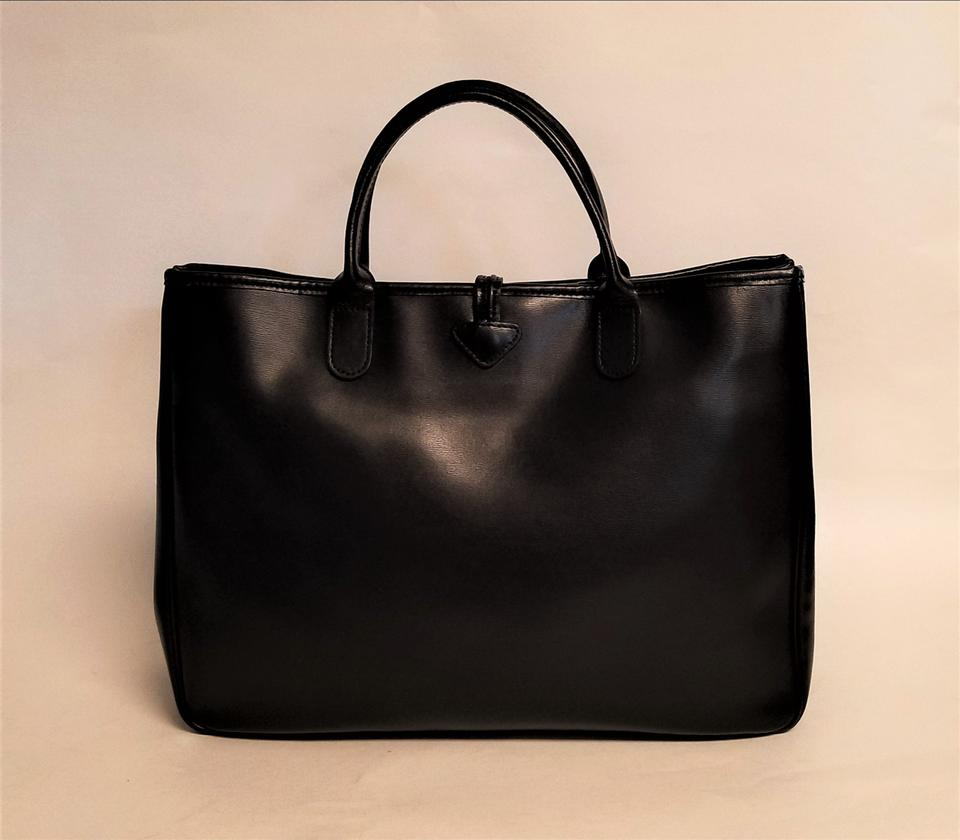 Large Black Longchamp Shopper Roseau Handle Leather Top Calfskin Tote dHH7Oxwq