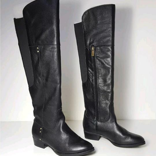 Dolce Vita Lightly Textured Black Leather OTK Boots