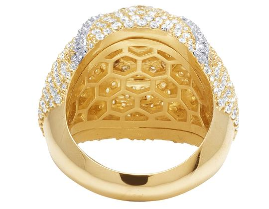Jewelry Unlimited 14K Yellow Gold Two Tone Diamond Pinky Ring 6.6 Ct 24MM