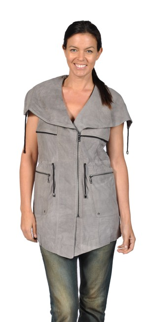 Preload https://img-static.tradesy.com/item/23142782/grey-womens-sleeveless-suede-leather-with-mesh-back-detail-jacket-size-8-m-0-0-650-650.jpg