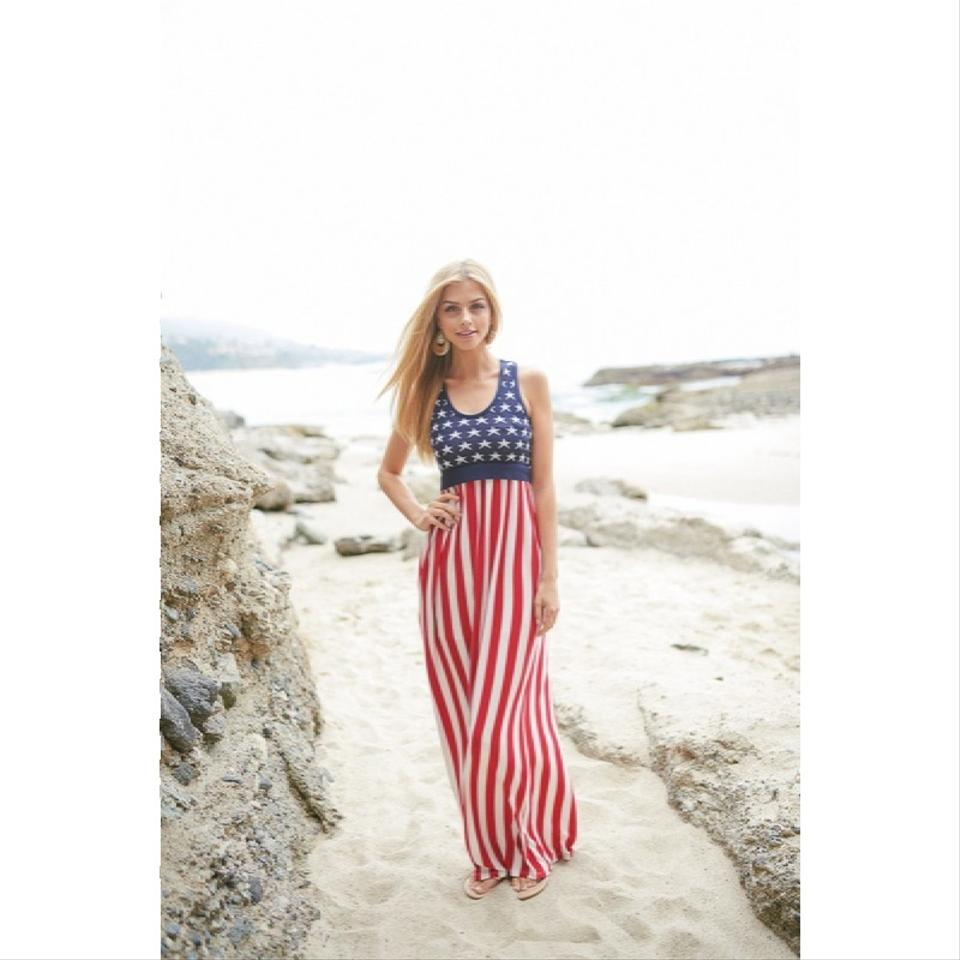 Red White Blue American Flag Stars Stripes Usa Long Casual Maxi ...