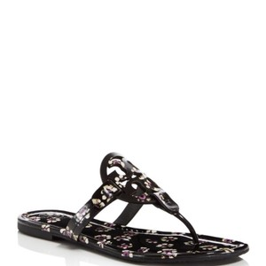 Tory Burch Miller Thong Leopard Black Stamped Floral Sandals