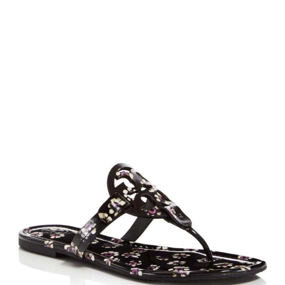 3d03e897f278 Tory Burch Black Stamped Floral 9.5m Miller Printed Patent Sandals ...