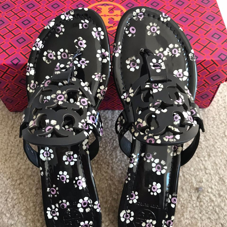c2df24266a3 Tory Burch Miller Thong Leopard Black Stamped Floral Sandals Image 11.  123456789101112