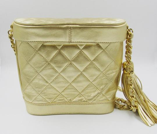 Chanel Leather Quilted Bucket Charm Cross Body Bag